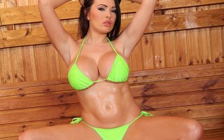 Charley Atwell flirts &plays with her big juggs in the sauna