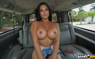 Busty latina Rose Monroe twerks on the bus