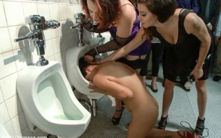 Vicki Chase is caught off guard fucking in the bathroom, shoved head first in the urinal, fucked hard in ass, made to cum uncontrollably.