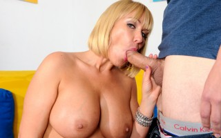 Horny MILF lets him fuck her tits and pussy with his cock