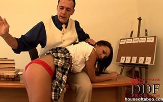 Sexy schoolgirl Abelia spanked hard by teacher Frank Gun