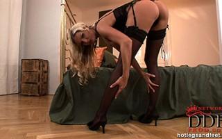 Blonde young babe Neilla's sexy foot fetish masturbation