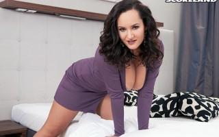 New fresh babe Amy Berton in purple dress