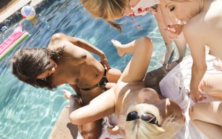 Seven lesbians in awesome summer strap-on anal pool party
