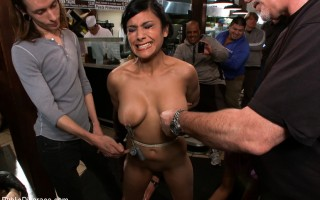 Beretta James is humiliated in a local late night eatery. Tied up and made to suck off and fuck total strangers!