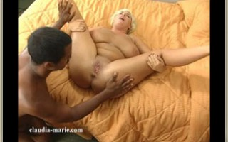Claudia-Marie Gets Her Big Saggy Udders Worked Over By A Young Black Stud