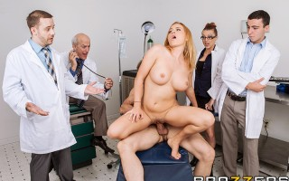 Horny head nurse Krissy Lynn can't wait until the end of her shift to let her fuckbuddy have his way with her juicy ass. These slutty staffers don't give a rip that the boss is touring new med students, or that they're being watched through a special two-