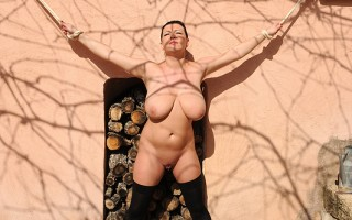 Busty Kora Is All Tied Up Outdoors And Pees Herself Twice