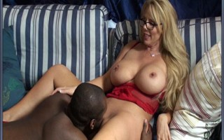 Hot blonde boss gets her pussy eaten out by employee with a huge black cock.